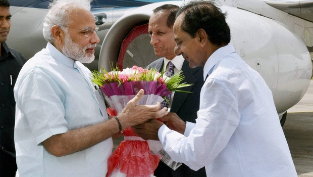 kcr recieved modi telangana