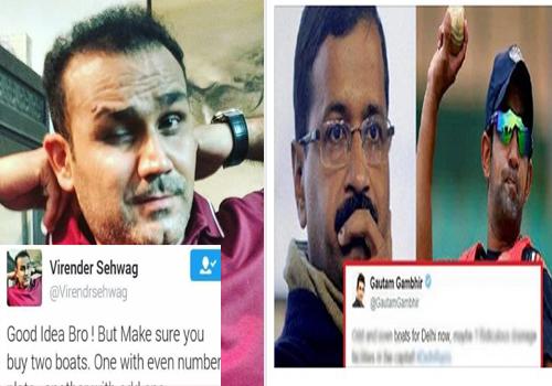 sehwag gambhir twitter comment about delhi politics heavy rain