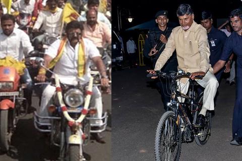 chandrababu cycle driving balayya bullet driving