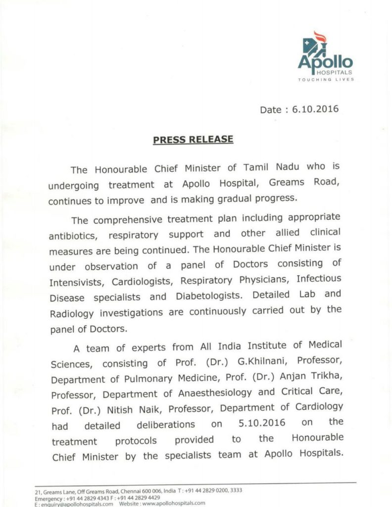jayalalitha apolo hospital press note