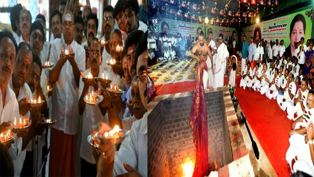 tamil nadu people devotion on temple for jayalalitha karunanidhi health