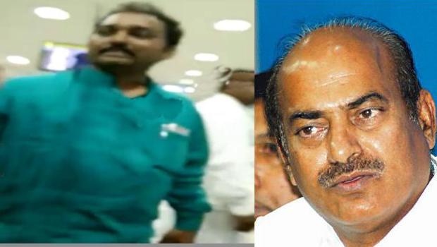 jc diwakar reddy fires on gannavaram airport officers