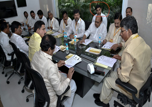 lokesh back bench siting tdp polit bureau meeting