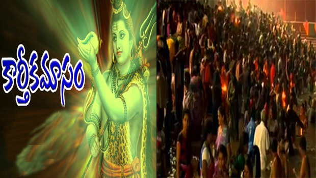 karthika masam huge devotees lord shiva temple