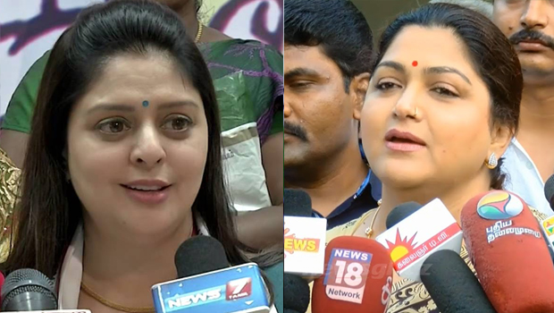 nagma and kushboo fighting in tamilnadu