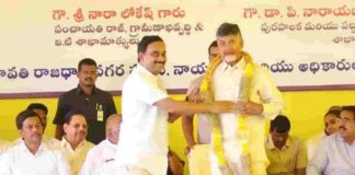 Rayapati Sambasivarao Son Honored With Garland To Chandrababu