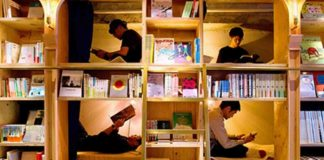 Bookshelf Bed Hostel Tokyo Japan