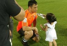 Dhoni Daughter Ziva Offering Water to him