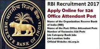 RBI Recruitment 2017 post attendant posts