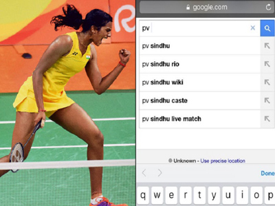 pv sindhu first place google searching peoples