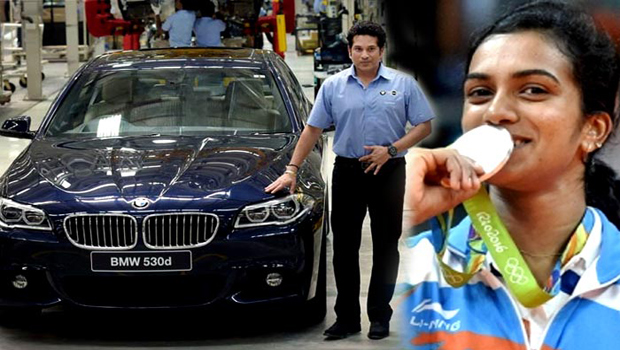 sachin tendulkar presented bmw car pv sindhu