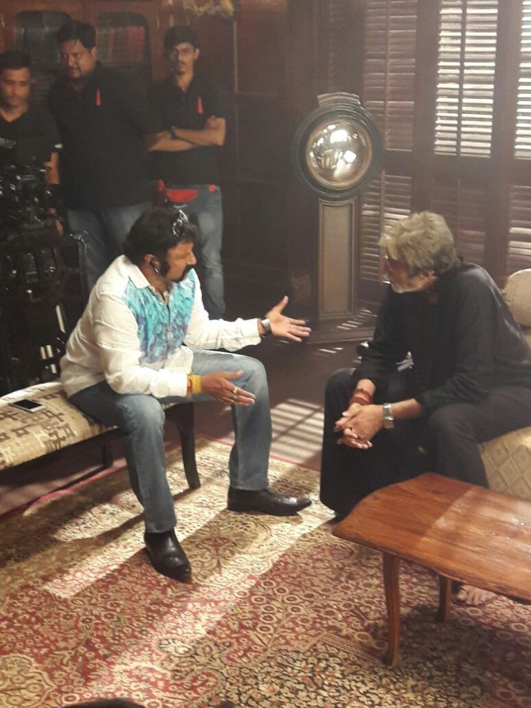 balakrishna touched the feet and took blessings amitabh bachchan in sarkar sets