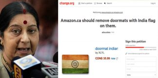 Sushma Swaraj warning Amazon Canada to remove insulting National Flag doormat