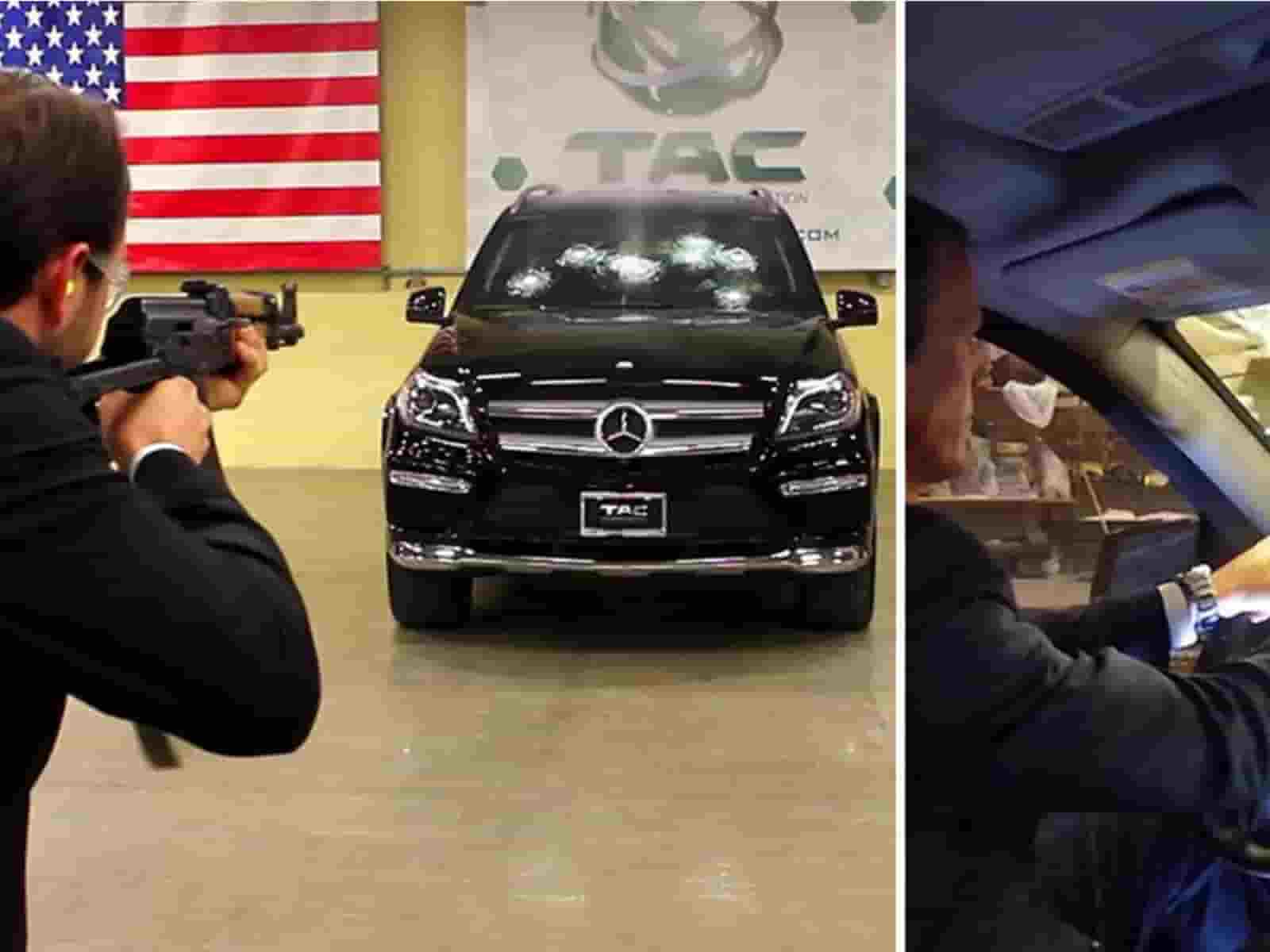 Ceo Of Mercedes Testing A Bulletproof Benz Car With Ak 47