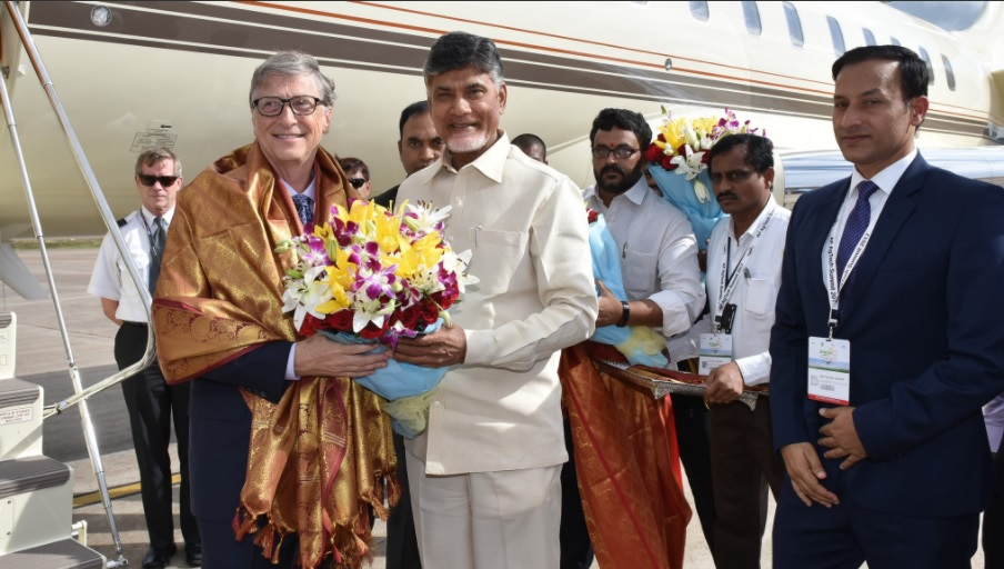 Chandrababu Naidu meets Bill Gates , Vishakhapatnam, Agritech, Conference, Chandrababu, CM, Bill Gates, Airport