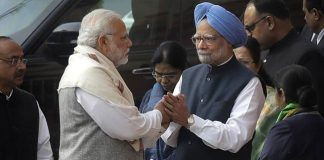 Modi shook hands with Manmohan Singh after the war of words