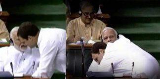 Rahul Gandhi gives Hug to PM Modi