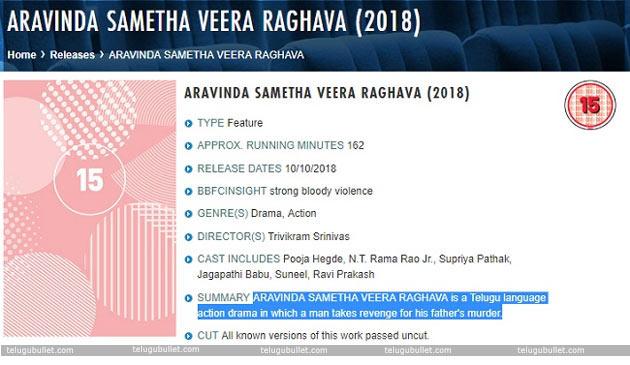 BBFC-Report-On-NTR-Aravinda-Sametha