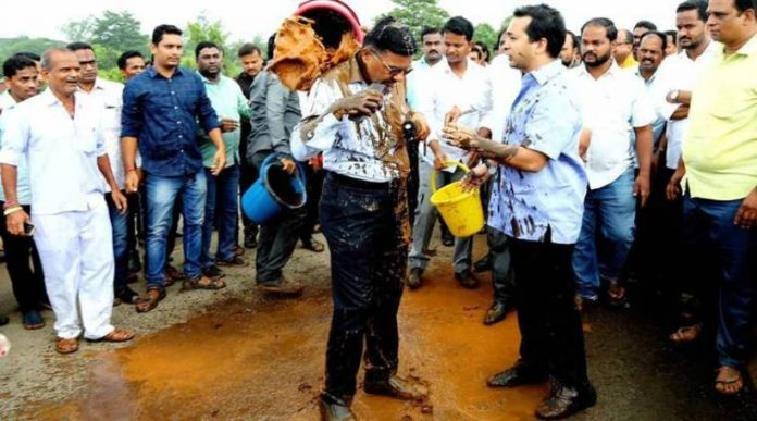 Congress MLA Nitesh Rane arrested for mud attack on a govt official.