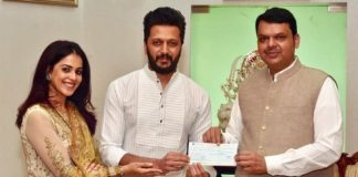 Riteish Deshmukh and Genelia donate Rs.25 lakh for Maharashtra flood relief.