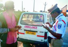 The traffic police caught an ambulance driver