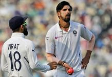 Ishant fifer, Kohli-Pujara stand give India Day 1 of the Pink Ball Test