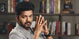 Vijay performing power-packed stunt on a racer bike